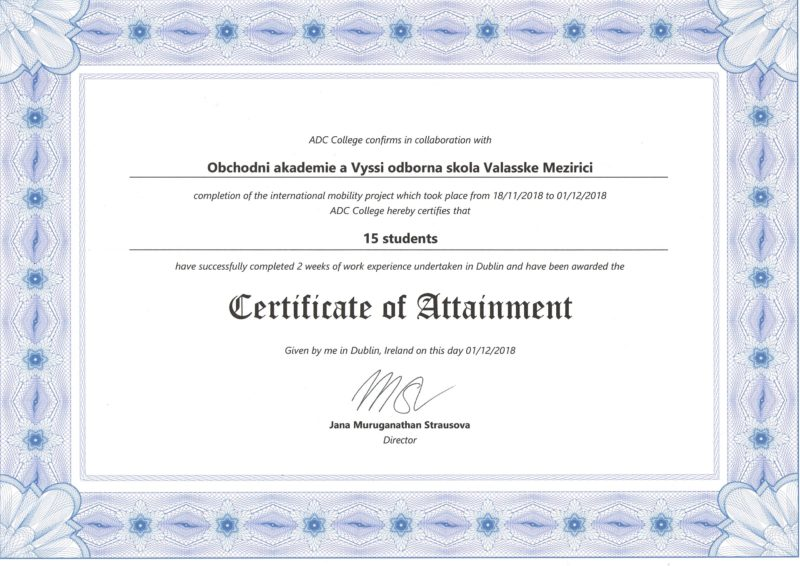 Certifikát ADC